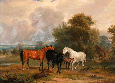 Art Oil painting nice animals black white and red horses with foal by village