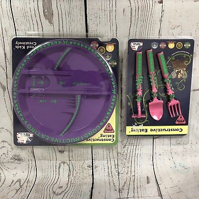 Constructive Eating Garden Fairy Plate with 3 piece Utensil Set Toddler Fun NEW