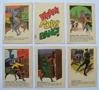 6 x BATMAN & ROBIN CEREAL TOY TRADING SWAP CARDS FROM WEETIES RICE KRINKLES 1966