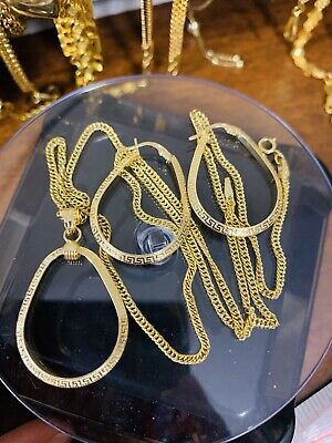 "18K Saudi Gold Set Hoops Necklace & Earring With 18"" Long"