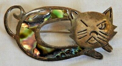 Vintage Mexican Sterling Silver & Abalone Winking Cat Pin Brooch