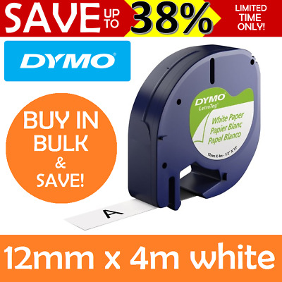 GENUINE DYMO Letratag Tape Paper White Label Refills Cartridge 12mm x 4m 92630