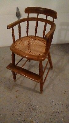 Antique Wooden Childs Windsor Style Booster High Chair