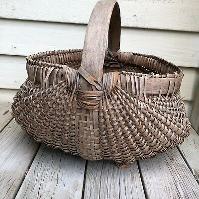 Large Antique Primitive Appalachian Rare Oak Rib & Split  Carrying Basket