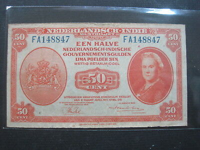 Netherlands Indies 50 Cent 1943 Dutch East 32# Bank Currency Banknote Money