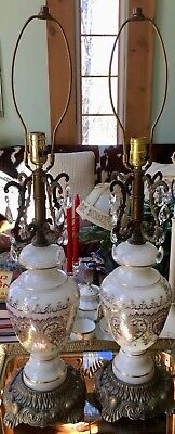 Vintage Pair of French 3-Way Gilded Opaline Glass Large Table Lamps w/ Prisms