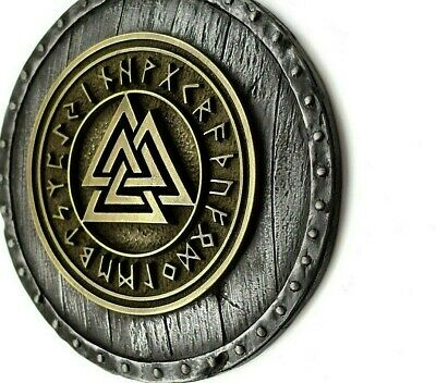 Norse Viking  Valknut with Runes on the Viking Shield Wall Mount Sculpture