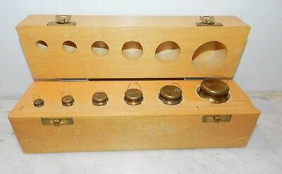 Mid Century English Brass Calibration Scale Weights 500 200 100 50 20 10 In Case