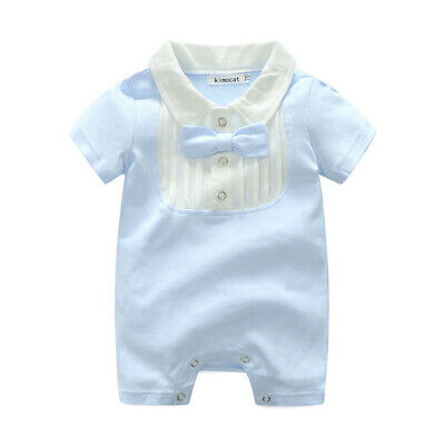 6635f996f US Newborn Baby Boy Gentleman Romper Bodysuit Jumpsuit Playsuit Outfit  Clothes