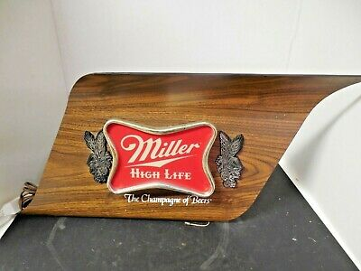 Vintage Miller High Life Beer Sign Lighted Mid Century Modern Faux Wood Man Cave
