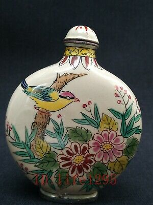 Collecting Old China Copper Cloisonne Snuff Bottle Painting Flowers and Birds