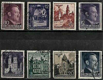 *L@@K* 8 German General Government Postally Used Stamps.1940..