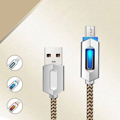 Heavyduty Braided  LED Metal Silk Fast Charge Micro USB Data Sync Charger Cable