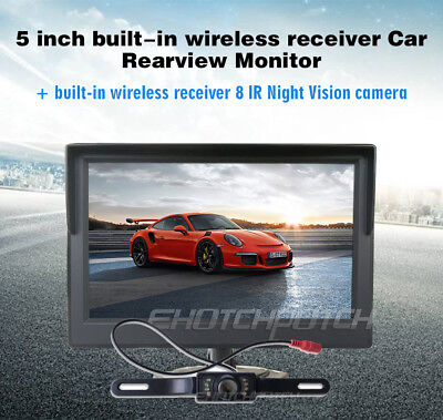 Auto Car Wireless IR Rear View Parking Back up Camera+5inch Monitor for RV Truck