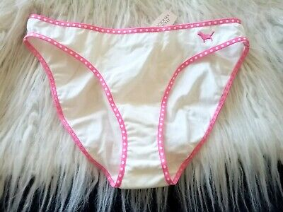 VTG Victoria's Secret Pink polka dot trim bikini rare embroidered dog logo