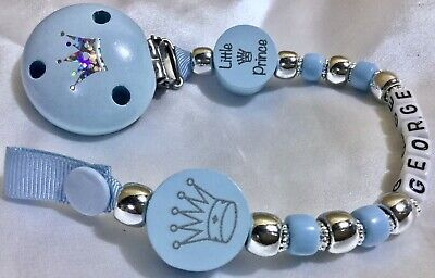 ♕ LITTLE PRINCE ♕  Dummy Clip ♕ PERSONALISED upto 10 Letters ♕ BABY BLUE/SILVER♕
