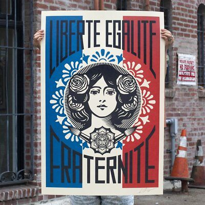 OBEY Liberte Egalite Fraternite - Shepard Fairey - Print Poster SIGNED - Macron