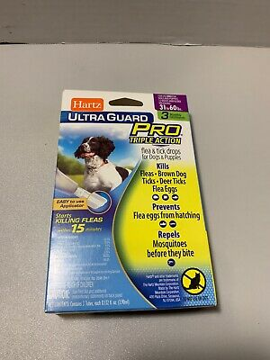 Hartz Flea and Tick Drops Ultra Guard Pro Dogs 31 to 60 lbs 3 Doses