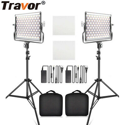 2 in 1 Dimmable LED Video Photography Studio Light + Light Stands Lighting Set