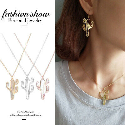 Exquisite Women Jewelry Stainless Steel Cactus Pendant Hollow Chain Necklace