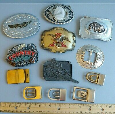 Mxed Lot Vintage Belt Buckles Anheuser Busch Country Music Western Metal Eagle