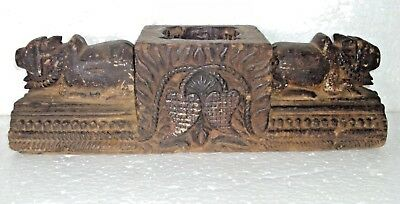 Rare Vintage Indian wooden cow Carved beautiful box bhasmi box Multi purpose