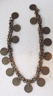 Old Banjara Necklace India Rs.1 Coins Fringe Necklace Jewelry White Metal Ethnic