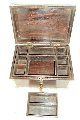 Vintage Indian Wooden Brass Fitted Hand Crafted Beautiful Box 10 Compartment Box