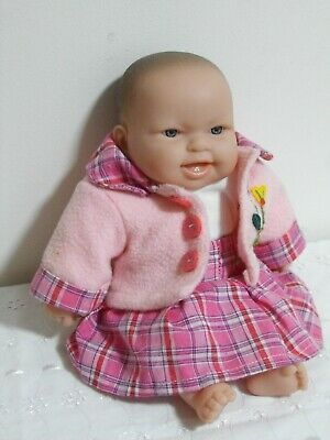BERENGUER SOFT BODY DOLL, PINK OUTFIT, 11 inch - 28 cm HIGH