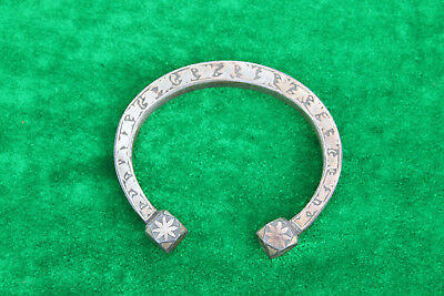 rare old mughal indo persian antique silver damascened child/ lady braclets