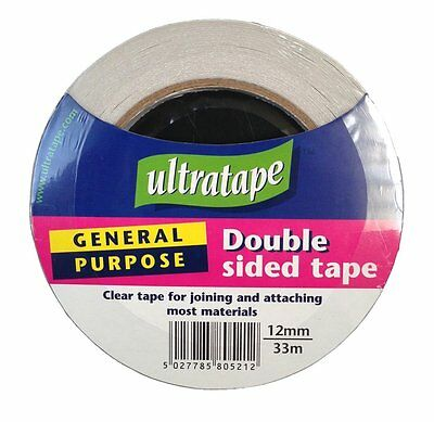 Double Sided Sticky Tape Roll Clear 12mm X 33m Strong Self Adhesive Sellotape