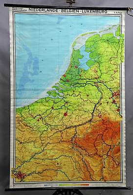 Netherlands, Belgium, Luxembourg vintage map wall chart poster print decoration