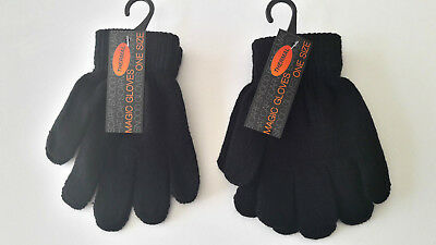 Kids Childrens Girls Boys Black Stretchy Magic Warm Winter Thermal Gloves!