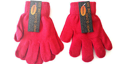 Kids Childrens Girls Boys Hot Pink Stretchy Magic Warm Winter Thermal Gloves!