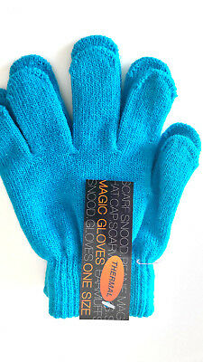 Kids Childrens Girls Boys Jade Blue  Stretchy Magic Warm Winter Thermal Gloves!