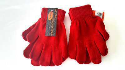 Kids Childrens Girls Boys Ruby Red  Stretchy Magic Warm Winter Thermal Gloves!