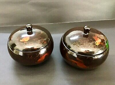 Fab Vintage Pair Vietnam Lacquer Ware Koi Carp Hand Made Bowls - Unused!