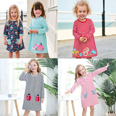 Girls Dress Long Sleeve Striped Cotton Kids Casual Dresses with Animal Appliques