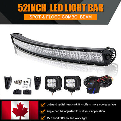 52inch LED Light Bar Curved Combo+4'' Pods Wiring for Ford 4X4 Truck 4WD UTE ATV