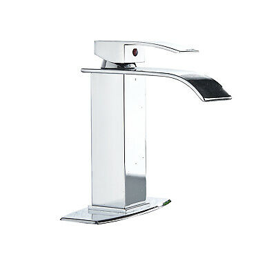 Chrome Waterfall Bathroom Sink Faucet Basin Mixer With Cover Plate Tap 1 Handles