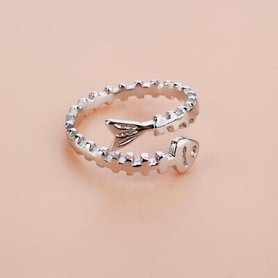 Women Silver Rings Simple Fish Bones Open Ring Sterling Silver Gifts ONE