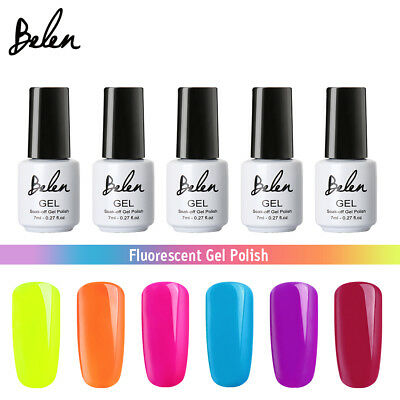 Belen Fluorescente Esmalte de Uñas en Gel Manicura UV LED Soak Off 7ML 6Colores