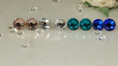 Beautiful S/P Stud Earrings with 7mm Crystal-Choice of Colours-Wedding-Gifts