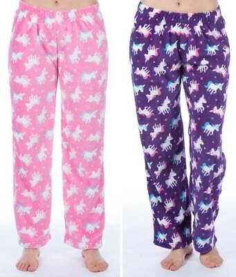 Girls Unicorn Design Soft & Cosy Fleece Lounge Pants/Pyjama Bottoms - Ages 5-13