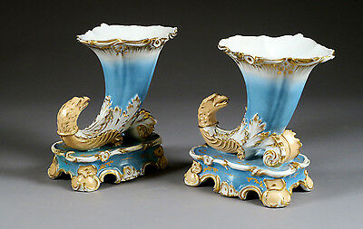 1880 Antique French PAIR Cornucopia horn dragon chimaera paris porcelain statue