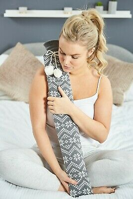 Grey Fair Isle Cover Extra Long Tubular PVC Hot Water Bottle ~ Gift Boxed