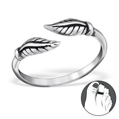 TJS 925 Sterling Silver Toe Ring Feather Leaf Adjustable Oxidised Body Jewellery