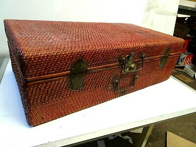 Antique Chinese Woven Rattan covered Suitcase c1920's