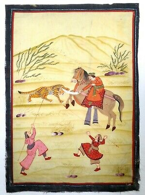 Late 19Th-Early 20Th C Vint South Asia/India Hand Painted Hunting Scene On Silk