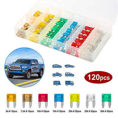 120PCS MG CAR//VAN AUTO MEDIUM BLADE FUSES BOX *5 10 15 20 25 30 AMP* TOP QUALITY